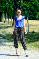blue blue H&M shirt - dark brown leopard print vintage pants