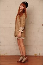 la vintage dress - la vintage jacket - Anthropologie shoes