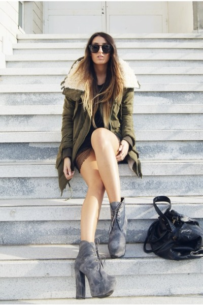 green shearling parka OASAP coat - heather gray Fox House shoes