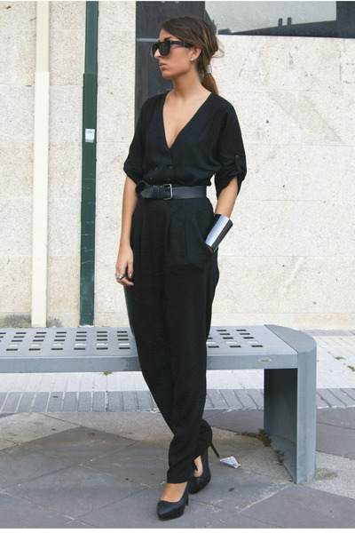 black Zara romper - black Zara shoes - black pull&amp;bear belt