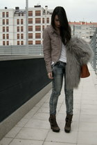 camel Zara jacket - dark brown Aldo boots - silver faux fur Zara coat