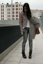 dark brown Aldo boots - silver faux fur Zara coat - gray bleached Bershka jeans