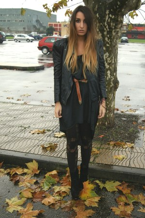 black House of Holland tights - black Nelly boots - black Vero Moda dress