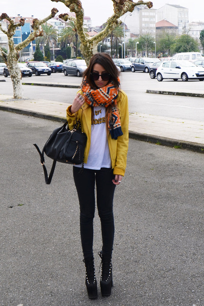 black UNIF boots - black OASAP bag - white High Heels Suicide top