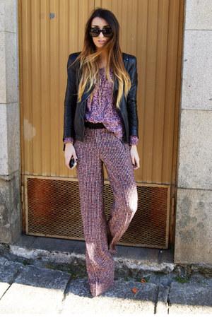 black Zara jacket - crimson Zara pants