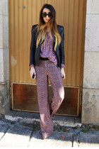 crimson Zara pants - black Zara jacket