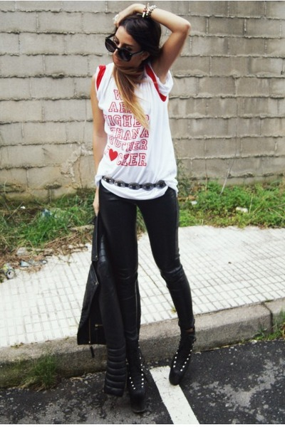 black asos pants - white High Heels Suicide top