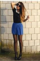 blue asos shorts - black Pixie top