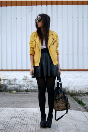 black wedges asos shoes - yellow leather Stradivarius jacket - black leather Zar