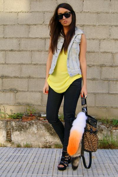 black diy studded Zara shoes - black Zara jeans - tawny leopard printed Yesstyle