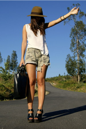black Zara clogs - olive green camouflage DIY shorts - white Zara top