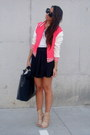 Peach-zara-shoes-hot-pink-varsity-asos-jacket-black-leather-zara-bag-black
