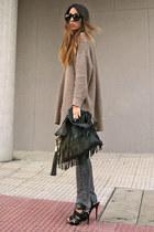 black fringe Zara bag - camel Zara sweater