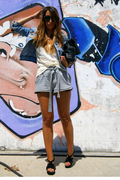 silver Zara shorts - black Office shoes