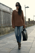 dark brown Aldo boots - burnt orange Bershka sweater - black leather Zara bag