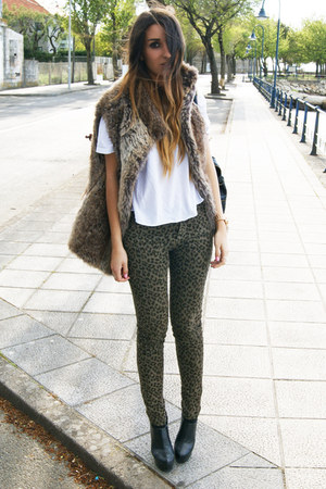 army green leopard Zara pants