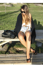 black wedges Zara shoes - navy Bershka cardigan - tawny Pull and Bear belt