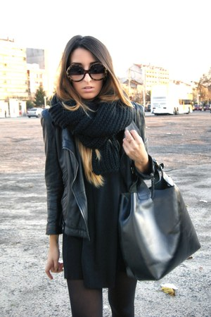 black Zara jacket - black Nelly scarf