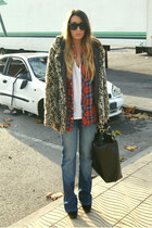 camel Bershka coat - brick red flannel Zara shirt - black Zara bag
