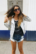charcoal gray Zara jacket - blue One Teaspoon shorts