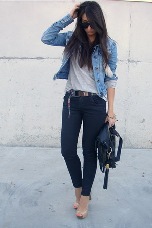 camel Bershka shoes - black fringed Zara bag - black Zara pants