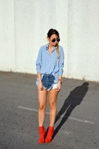 blue OASAP shirt - red Dolce Vita boots - blue One Teaspoon shorts