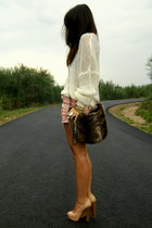 cream Beshka shoes - dark brown fur Zara bag - nude Zara shorts - ivory Whole sa