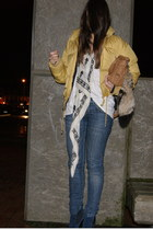 gold  coat - navy asos shoes - black McQueen scarf