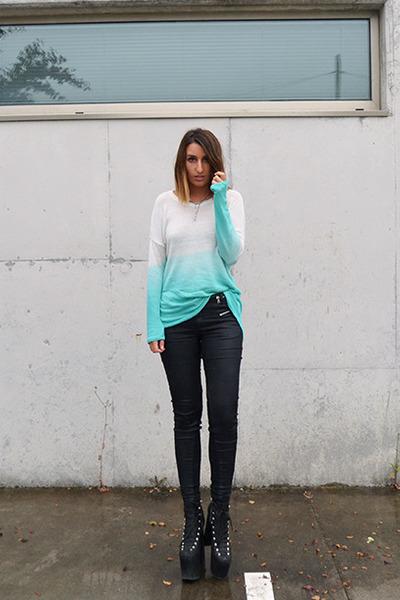 aquamarine Nasty Gal sweater - black UNIF shoes