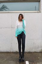 aquamarine Nasty Gal sweater - black UNIF shoes