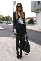 black Office shoes - black Zara jacket - black Zara skirt