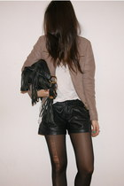 camel Zara jacket - black fringed Zara bag - black Zara shorts