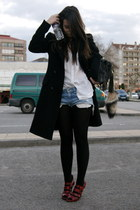 ruby red snakeskin Zara shoes - black Zara coat - white Zara shirt - black fring