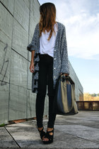 black Pixie cardigan - black Office shoes - black Zara bag