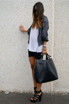 black diy studded Zara shoes - black Zara bag - charcoal gray Zara hoodie