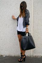 black diy studded Zara shoes - black Zara bag - charcoal gray Zara hoodie