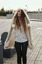 beige bear ear asos coat - deep purple harness Lo&Chlo necklace