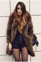 dark brown Zara coat - navy asos shorts
