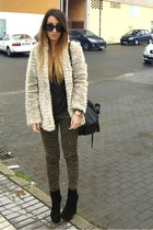 camel New Yorker coat - black Nelly boots - olive green Zara pants
