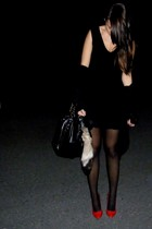 black Zara dress - black Bershka cardigan - black H&M tights - red Bershka shoes