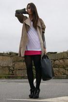 camel Zara coat - hot pink H&M skirt