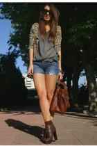 crimson Zara boots - navy Zara shirt - dark brown satchel vintage bag - burnt or