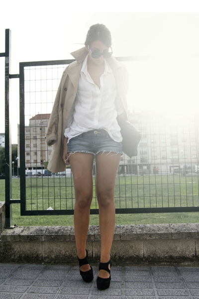 black Office shoes - light brown trench Zara coat - white Pull and Bear shirt