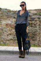 dark brown Aldo boots - navy Zara shirt - black Zara pants