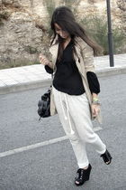 black Aldo shoes - beige Stradivarius coat - black Zara shirt - silver Zara pant