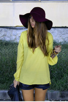 mustard Zara top - crimson floppy H&M hat - black leather Zara shorts
