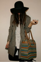 olive green Pull and Bear coat - black H&M hat - blue embellished Zara bag