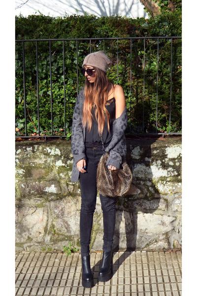 gray H&M cardigan - black mulder Jeffrey Campbell boots