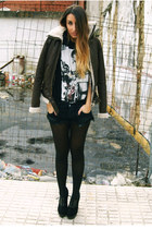 dark brown Primark jacket - black Fox House shoes - black One Teaspoon shorts