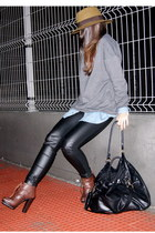 dark brown Zara boots - heather gray H&M sweater - navy denim Zara shirt - black